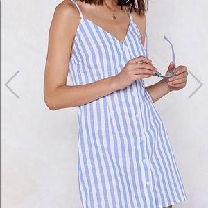 Buttons Striped Dress